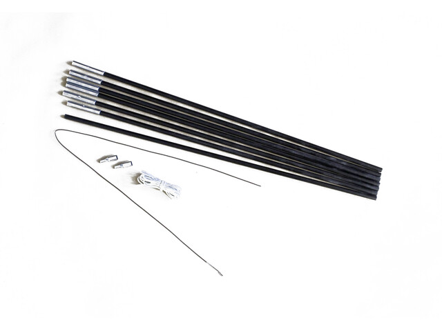 Relags glasvezelstangen Tentaccessoires hardware 4m x 7,9mm, 7 segmenten zwart
